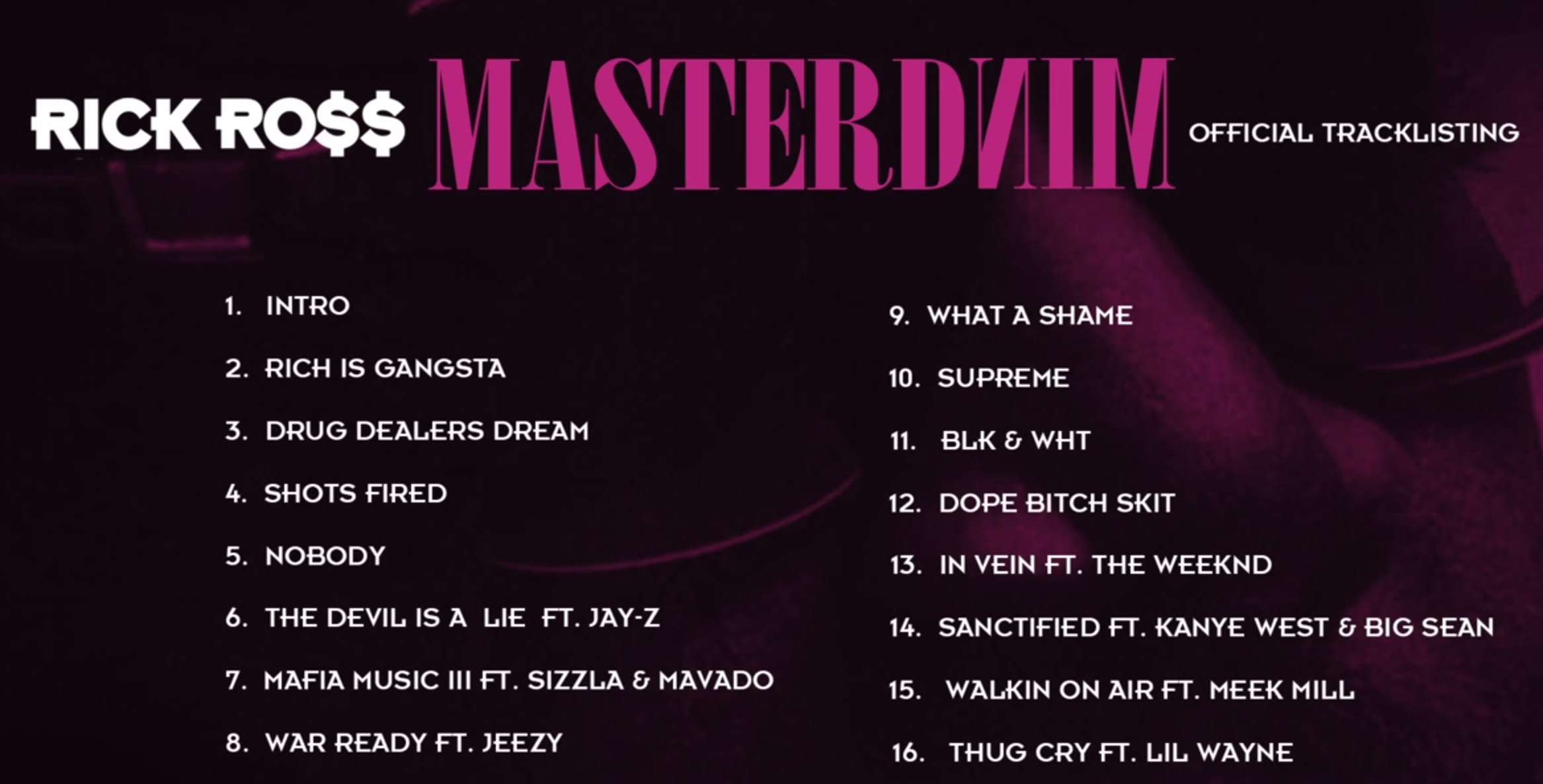 Rick Ross Mastermind track listing